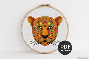 Jaguar Face Cross Stitch Pattern