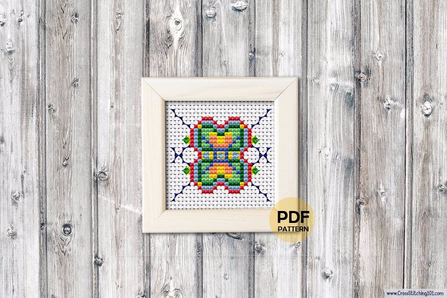 Colorfull Square Patterns Cross Stitch Design