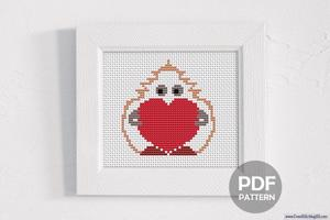 Cute Little Cartoon Mascot Character Holding A Love Heart CrossStitch Chart