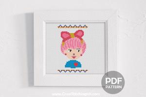 Cute Girl Closeup Look Cross Stitch Design