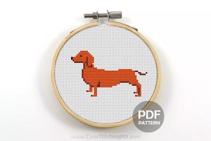 Wiener Dog Cross Stitch Design