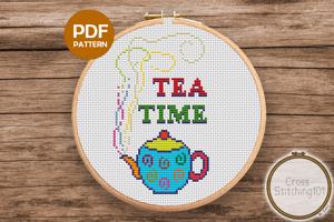 Tea Time Cross Stitch Pattern