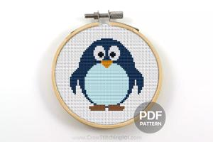 Cartoon Penguin Cross Stitch Design