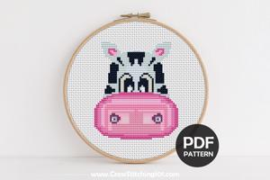 Cartoon Zebra Face Cross Stitch Pattern