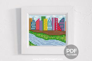 Lake Town Cross Stitch Pattern
