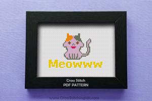 MEOWWW - Cat Cross Stitch Design
