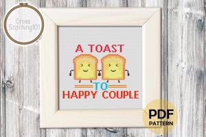 A Toast To Happy Couple Cross Stitch PDF