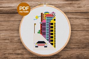 Modern City Pattern Cross Stitch Design