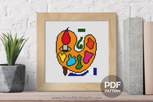 Painting Palette Cross Stitch PDF