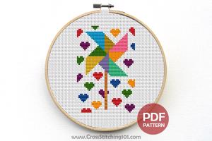 Paper Fan Cross Stitch Design