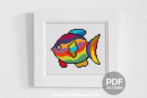 Colored Angel Fish Cross Stitch Chart