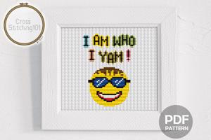 I Am Who I Yam! Cross Stitch Pattern