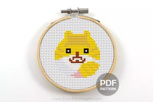 Pussy Cat Face With her Tale Cross Stitch Design