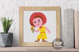 Cartoon Girl with Flower Cross Stitch Design