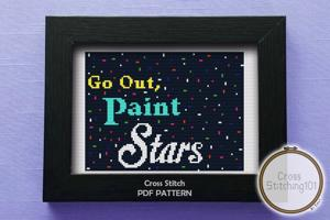 Go Out, Paint Stars Cross Stitch PDF