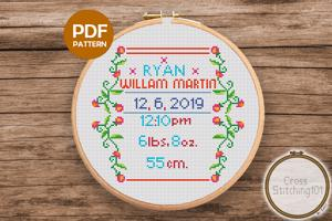 Birth Announcement Template-13 Cross Stitch Design