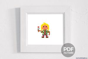 Boy with Flower Cross Stitch Pattern
