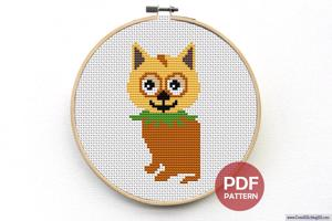 Cute Curious Kitten Sitting Down Cross Stitch Pattern