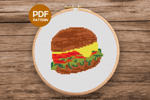 Veg Burger Cross Stitch Design