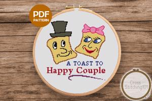 A Toast To Happy Couple Cross Stitch Design