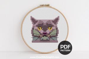 Scottish Fold Cat Face Cross Stitch Chart