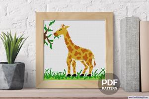 Giraffe Eating Cross Stitch Chart