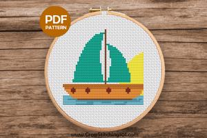 Aqua Sail Boat Cross Stitch Design