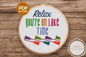 Relax, You're On Lake Time Cross Stitch Design