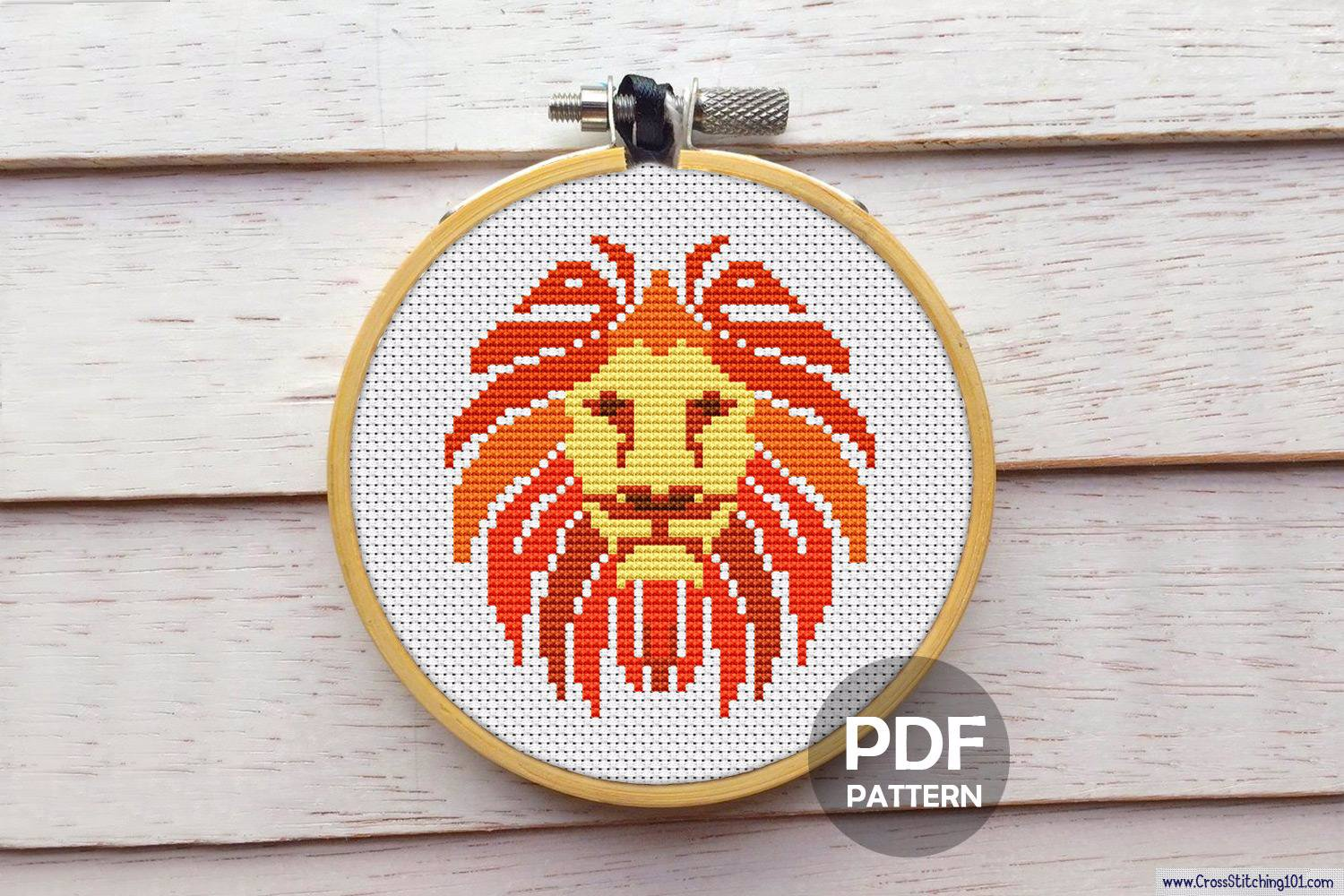 African Lion Cross Stitch Pattern