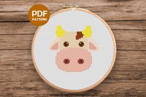 Brown Blanche Cow Cross Stitch Pattern