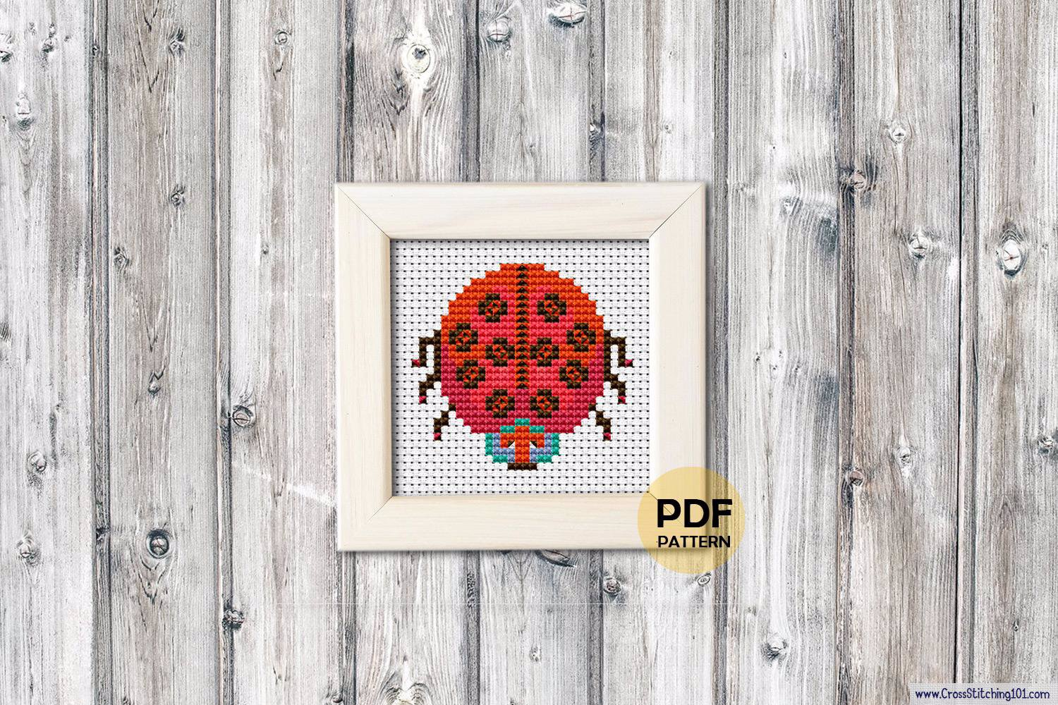 Cartoon Ladybug Cross Stitch Design