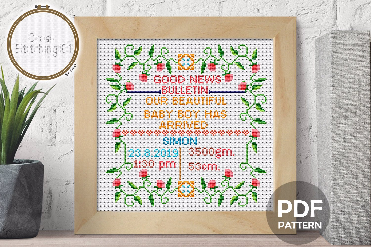 Birth Announcement Template-10 Cross Stitch Chart