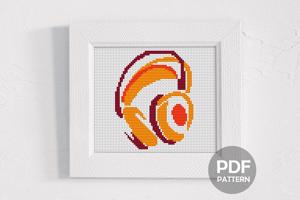 Headphones Cross Stitch Pattern