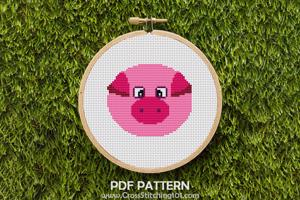 Pig Face Cross Stitch Pattern