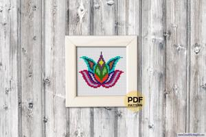 Lotus Cross Stitch Design