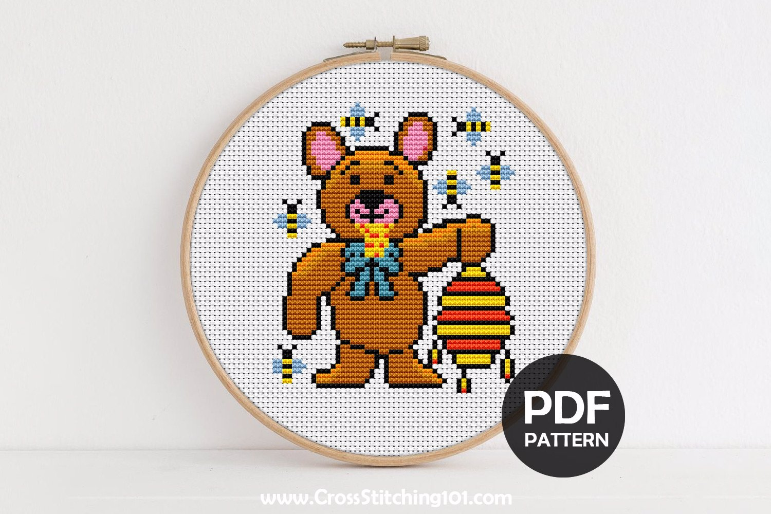 Bear Eating Honey Cross Stitch Pattern