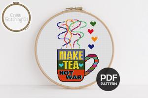 Make Tea Not War Cross Stitch Pattern