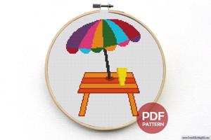 Table n Umbrella Cross Stitch Pattern