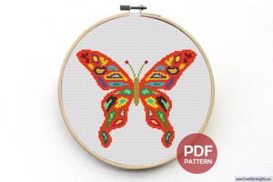 Colorful Butterfly Cross Stitch Pattern