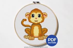 Cartoon Cute Monkey CrossStitch Pattern