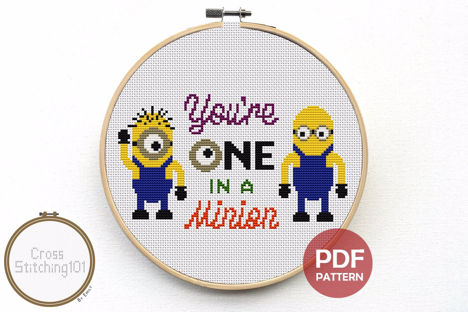 You're One In A Minion Cross Stitch Pattern