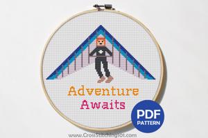 Adventure Awaits - Paragliding Flying Cross Stitch Design