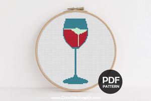 Wine Glass Cross Stitch Pattern