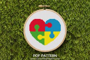 Autism Puzzle Pieces Heart Cross Stitch PDF