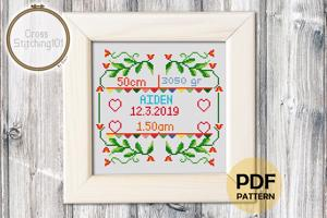 Birth Announcement Template-6 Cross Stitch Chart