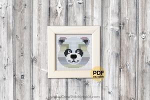 Panda Face Cross Stitch Design