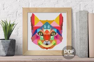 Cat Face Cross Stitch Design