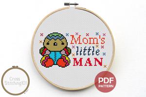 Mom's Little Man Cross Stitch Design