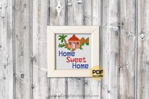 Stay Home - Home Sweet Home Cross Stitch Design