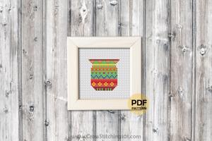 Flower Pot Cross Stitch Design